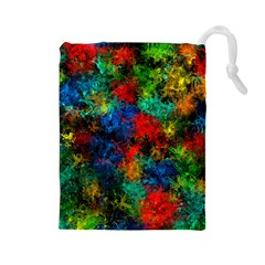 Squiggly Abstract A Drawstring Pouches (large)  by MoreColorsinLife