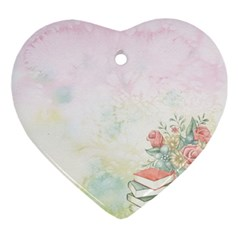 Romantic Watercolor Books And Flowers Ornament (heart) by paulaoliveiradesign