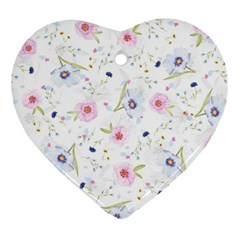 Floral Cute Girly Pattern Heart Ornament (two Sides) by paulaoliveiradesign