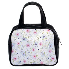 Floral Cute Girly Pattern Classic Handbags (2 Sides) by paulaoliveiradesign