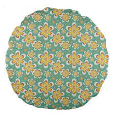 Seamless Pattern Blue Floral Large 18  Premium Round Cushions by paulaoliveiradesign