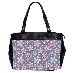 Seamless Pattern Purple Girly Floral Pattern Office Handbags (2 Sides)  by paulaoliveiradesign