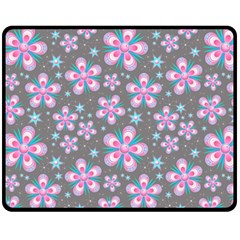 Seamless Pattern Purple Girly Floral Pattern Fleece Blanket (medium)  by paulaoliveiradesign