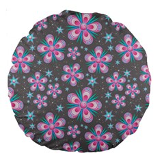 Seamless Pattern Purple Girly Floral Pattern Large 18  Premium Round Cushions by paulaoliveiradesign