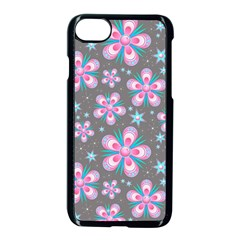 Seamless Pattern Purple Girly Floral Pattern Apple Iphone 7 Seamless Case (black) by paulaoliveiradesign