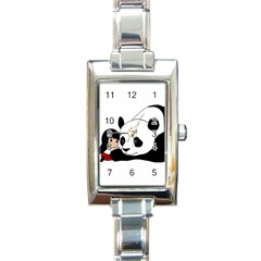 Girl And Panda Rectangle Italian Charm Watch by Valentinaart