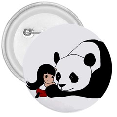 Girl And Panda 3  Buttons by Valentinaart