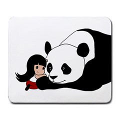 Girl And Panda Large Mousepads by Valentinaart