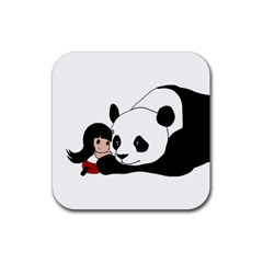 Girl And Panda Rubber Square Coaster (4 Pack)  by Valentinaart