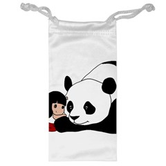 Girl And Panda Jewelry Bag by Valentinaart