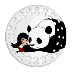Girl And Panda Ornament (round Filigree) by Valentinaart