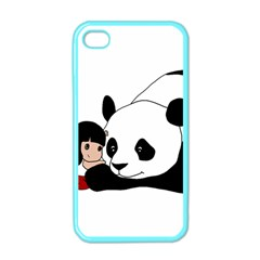 Girl And Panda Apple Iphone 4 Case (color) by Valentinaart