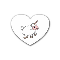 Unicorn Sheep Rubber Coaster (heart)  by Valentinaart