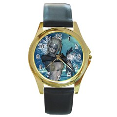 The Wonderful Water Fairy With Water Wings Round Gold Metal Watch by FantasyWorld7