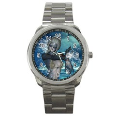 The Wonderful Water Fairy With Water Wings Sport Metal Watch by FantasyWorld7