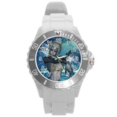 The Wonderful Water Fairy With Water Wings Round Plastic Sport Watch (l) by FantasyWorld7