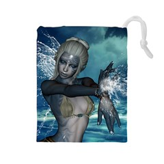 The Wonderful Water Fairy With Water Wings Drawstring Pouches (large)  by FantasyWorld7