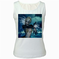 The Wonderful Water Fairy With Water Wings Women s White Tank Top by FantasyWorld7