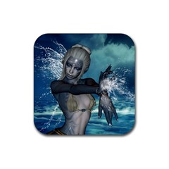 The Wonderful Water Fairy With Water Wings Rubber Coaster (square)  by FantasyWorld7