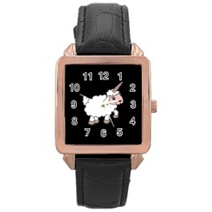 Unicorn Sheep Rose Gold Leather Watch
