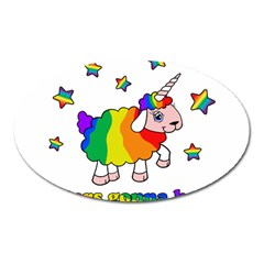 Unicorn Sheep Oval Magnet by Valentinaart