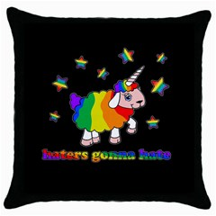 Unicorn Sheep Throw Pillow Case (black) by Valentinaart