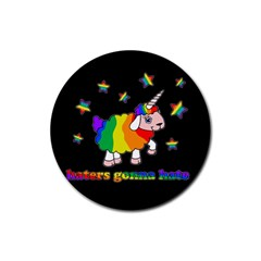 Unicorn Sheep Rubber Round Coaster (4 Pack)  by Valentinaart