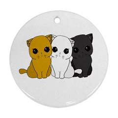 Cute Cats Round Ornament (two Sides)