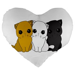 Cute Cats Large 19  Premium Flano Heart Shape Cushions