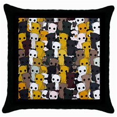 Cute Cats Pattern Throw Pillow Case (black) by Valentinaart