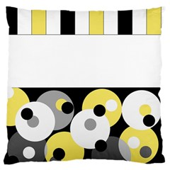 Black, Gray, Yellow Stripes And Dots Large Flano Cushion Case (one Side) by digitaldivadesigns