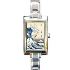 The Classic Japanese Great Wave Off Kanagawa By Hokusai Rectangle Italian Charm Watch by PodArtist