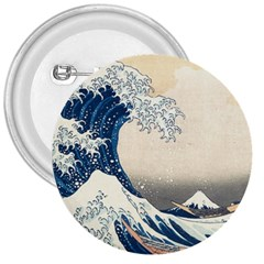 The Classic Japanese Great Wave Off Kanagawa By Hokusai 3  Buttons by PodArtist