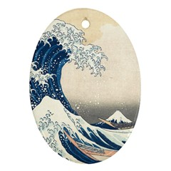 The Classic Japanese Great Wave Off Kanagawa By Hokusai Ornament (oval) by PodArtist