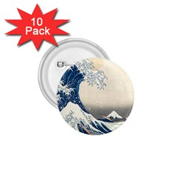 The Classic Japanese Great Wave Off Kanagawa By Hokusai 1 75  Buttons (10 Pack) by PodArtist