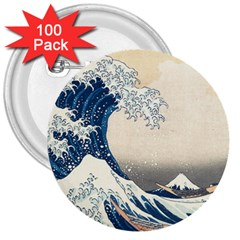 The Classic Japanese Great Wave Off Kanagawa By Hokusai 3  Buttons (100 Pack)