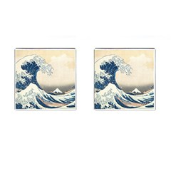 The Classic Japanese Great Wave Off Kanagawa By Hokusai Cufflinks (square) by PodArtist