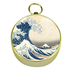 The Classic Japanese Great Wave Off Kanagawa By Hokusai Gold Compasses by PodArtist