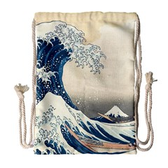 The Classic Japanese Great Wave Off Kanagawa By Hokusai Drawstring Bag (large) by PodArtist