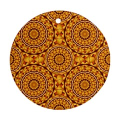 Golden Mandalas Pattern Round Ornament (two Sides) by linceazul