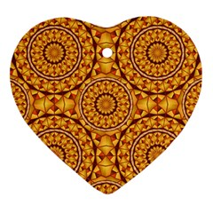 Golden Mandalas Pattern Heart Ornament (two Sides) by linceazul