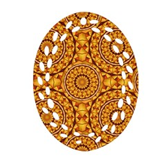 Golden Mandalas Pattern Oval Filigree Ornament (two Sides) by linceazul