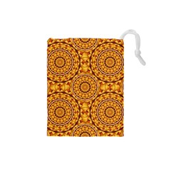 Golden Mandalas Pattern Drawstring Pouches (small)  by linceazul