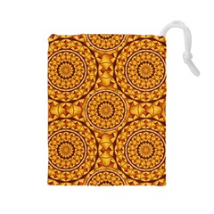 Golden Mandalas Pattern Drawstring Pouches (large)  by linceazul