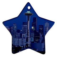 Space Needle Seattle Washington Ornament (star) by Nexatart