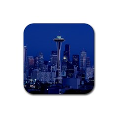 Space Needle Seattle Washington Rubber Coaster (square)  by Nexatart
