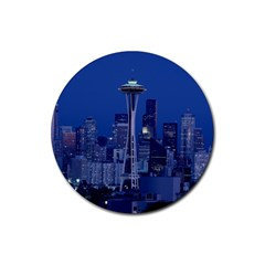 Space Needle Seattle Washington Rubber Round Coaster (4 Pack)  by Nexatart