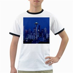 Space Needle Seattle Washington Ringer T Shirts by Nexatart