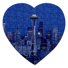 Space Needle Seattle Washington Jigsaw Puzzle (heart) by Nexatart
