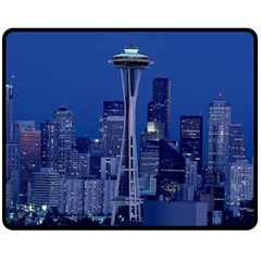 Space Needle Seattle Washington Fleece Blanket (medium)  by Nexatart
